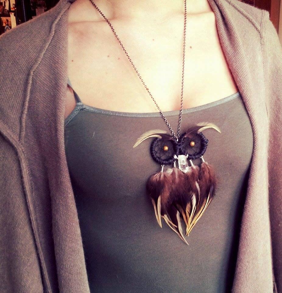 How To Make Dream Catcher Necklace Owl Dream Catcher Necklace Feathers Quartz Boho Custom 24