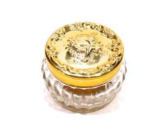 VINTAGE: 1970's - Estee Lauder Glass Powder Jar - Vanity Accessory - Boudoir - Hollywood Glamour Regency - SKU 20-OS-00008941