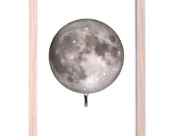 Monochrome Moon Kids Art Print, 11 x 14, A3 Kids Interior Decor, Black and White, Wall Art, Boys Room Decor