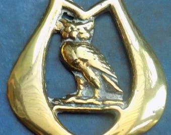 Genuine Antique Victorian HORSE BRASS OWL design Made in England