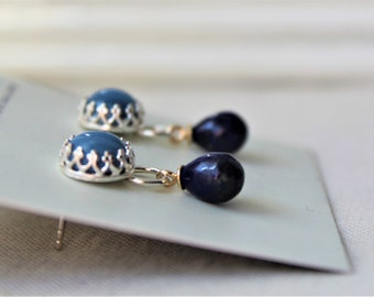 Sterling silver Earrings with Lapis lazuli and blue Opal Gemstone - 925 Dangle yellow gold accent