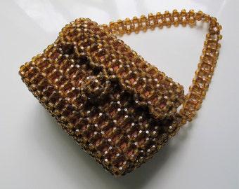 BAG Genuine 1960's Vintage Amber Plastic Beads Box HANDBAG Top handle Beaded Retro MOD Purse Pocketbook
