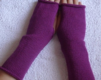 Knitted womens fingerless gloves, knit arm warmers mittens, purple wrist warmers for lady, handmade hand warmers, CHOOSE COLOUR and SIZE