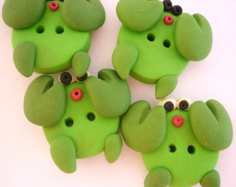green crab buttons with polymer clay