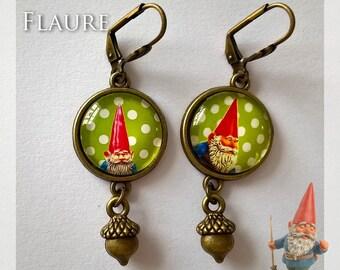 """Cabochon earrings """"dwarf wood 2"""" green"""