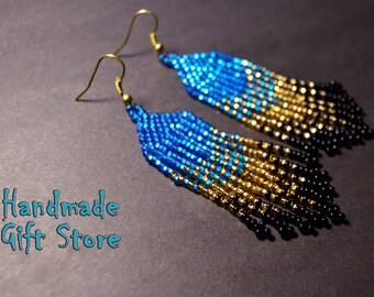 Native American Style Earrings Seed beads Gold Blue Black