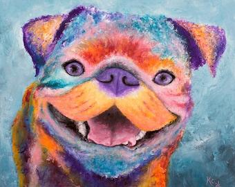 Pug Painting - Pug Wall Art, Pop Art Pug Dog, Colorful Pug Portrait, Pop Dog Art. Original Painting size 20 x 24 inches.