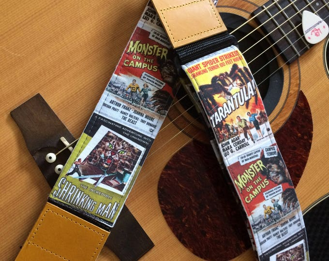 Retro guitar strap handmade // vintage mid century monster movie posters // retro lo-fi science fiction schlock // choice of leather ends