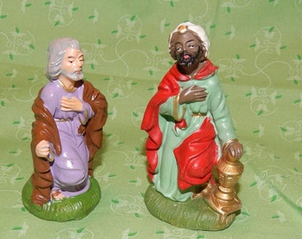 2 piece Chalk ware Christmas Nativity Set Antique Christmas Decor Rustic Joseph and Wise man