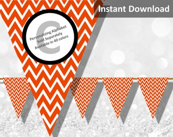 Bright Orange Chevron Bunting Pennant Banner Instant Download, Party Decorations