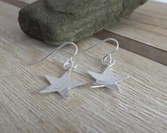 Sterling silver star earrings, star earrings, silver stars, star drop earrings, silver earrings, earrings, sterling silver jewellery