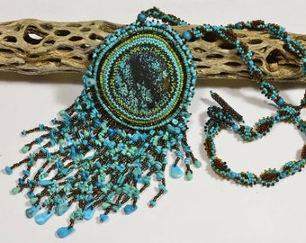 Seed Beads Necklace Tutorial How beaded Necklace, Embroidery Pendant Tutorial