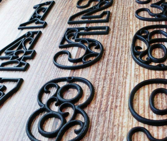 Charming House Numbers Cast Iron Black Wall Hangers Decorative