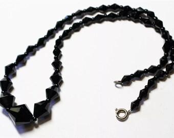 Black Crystal Beaded Vintage Necklace Choker