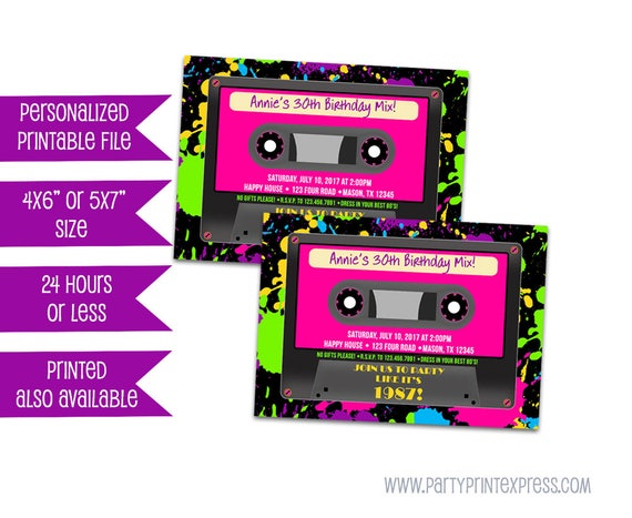 Printable Cassette Tape Invitations Neon 80s Birthday