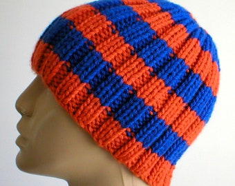 Orange royal blue ribbed beanie hat, skull cap, mens womens hat, hand knit hat, blue orange hat, toque, orange blue beanie hat, striped hat