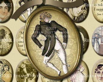 Jane Austen Regency Literary - Digital Collage Sheet - 30 x 40mm Cameo-Size Oval Images - Instant Download and Print