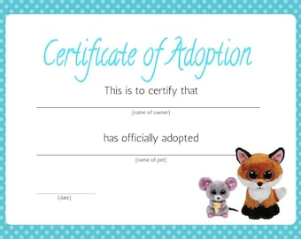 Adoption certificate etsy beanie boo adoption certificate yadclub Images