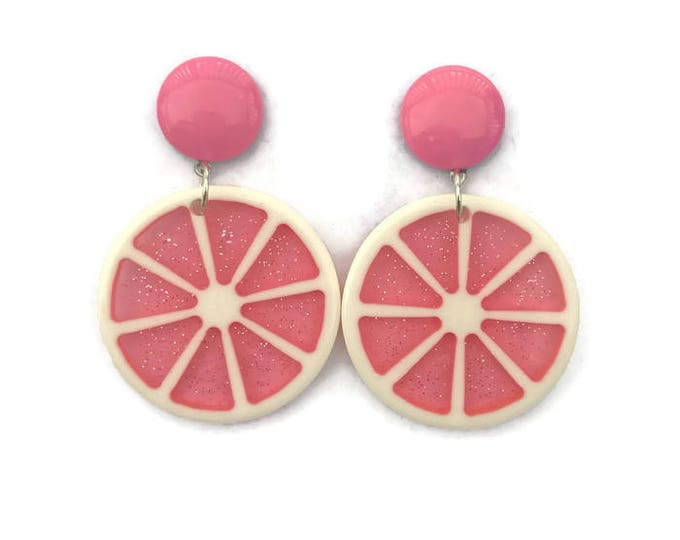 Featured listing image: Pink Grapefruit Slice Earrings - Retro Fruity - Glitter Plastic Dangle Earrings - Handmade in USA - Women's, Rockabilly, Pinup Jewelry