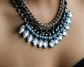 Denim & Silver Statement Necklace