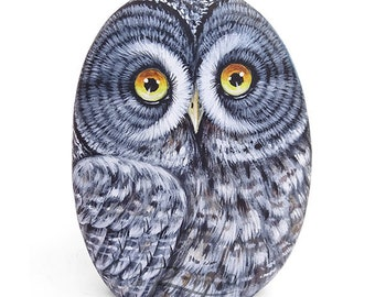 Original Hand Painted Great Grey Owl Rock | Owl Painted Stone Bird Art by Roberto Rizzo