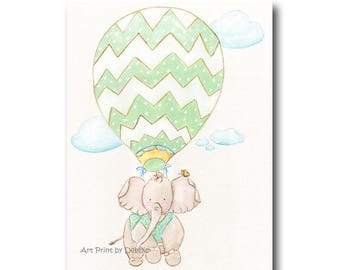 Nursery Wall Art, Travel Themed Nursery, Baby Animal Print, Elephant Print, Personalized Baby Shower Gift, Safari Nursery Print, Jungle Baby