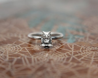 Dainty Little Perched Owl Stacking Ring. Wise Owl Stacking Ring. Sterling silver owl ring.