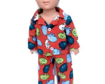 Boy Doll Pajamas, Frog Pajamas, Red Flannel Doll Pajamas, Winter Doll Clothes, 18 Inch Boy Doll Clothes