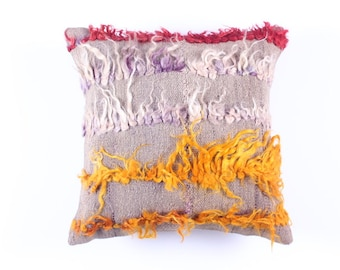VINTAGE Wool Pillow Case - Turkish decorative kilim pillow cover,16''X16'', Bohemian Home Decor,