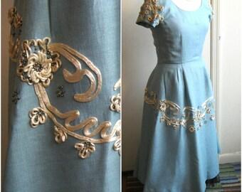 1950s Hattie Carnegie dress, summer 50s dress linen and silk cord soutache, sterling silver beads, signature blue color