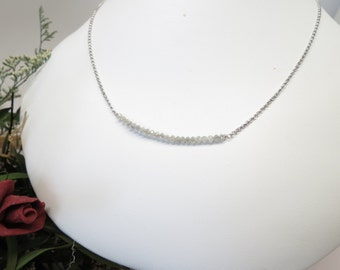 Grey-White Diamond Necklace, Genuine Diamond Necklace In 14K White Gold, April Birthstone, 15-20 Inches Length, Gold Diamond Bar Necklace
