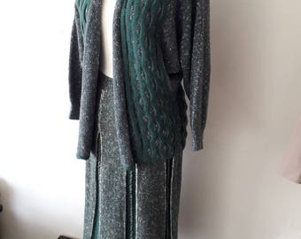 Vintage knitted cardigan and skirt suit. Size 12