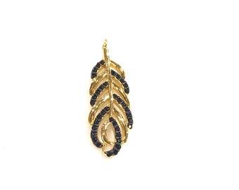 Boho feather black cz charm/ pendant