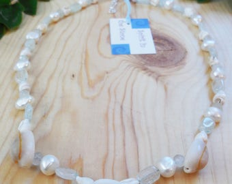 Mermaid Shell Necklace - Sterling Silver Necklace with Aquamarine, Freshwater Pearls, and Shells