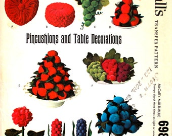 UNUSED Embroidery Transfer for Pincushions, Fruity Table Decorations and Smocked Hangings McCalls 6988