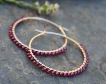 """Gold filled Hoops, Garnet Hoops, 1-1/2 """" Gold Hoops, Garnet Petal Earrings, Janruary birthstone, Wire Wrapped Earrings,Lightweight Earrings"""