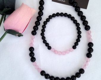 Black Agate and Rose Quartz Necklace and Bracelet set, Black and Pink jewellery, Gift for her