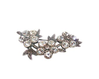 Sterling Silver Crystals & Marcasites Vintage Very Sparkly Jeweled Floral Brooch Pin