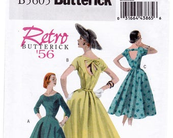 Retro 1956 FF Butterick 5605 Dress Reissued Sewing Pattern, Misses Full Skirt Dress Open Back in 3 Options, Size 8-14, Bust 31 1/2-36, UNCUT