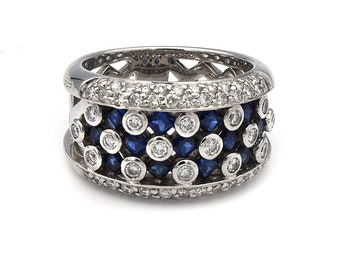 Sapphire and White Diamond Ring in 14K White Gold Approx 1.00ct