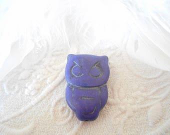 Purple howlite turquoise OWL bead.