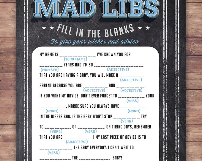MAD LIBS baby shower game, Baby is brewing, Coed baby shower, baby wishes card- Beer baby shower - couples baby shower