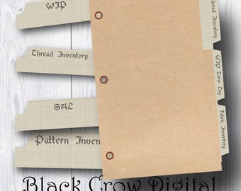 Cross Stitch, Embroidery Journal Divider Tabs; Stitching Journal Tab Labels; 3 Ring Binder Tabs; Page Lables;   Printable Instant Download