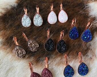 Rose gold teardrop druzy earrings, rose gold druzy, druzy earrings, white druzy tear drop, White drop earrings