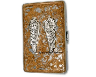 Metal Cigarette Case Silver Angel Wings Inlaid in Hand Painted Metallic Gold Swirl Design Neo Victorian Inspired Personalized Options