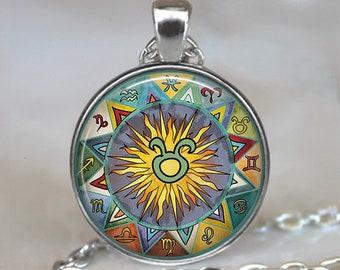 Taurus Bohemian Zodiac necklace, Taurus necklace Taurus pendant Zodiac pendant Zodiac jewelry astrology Boho Taurus key chain key ring
