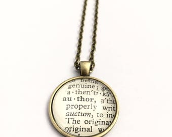 AUTHOR Vintage Dictionary Word Pendant