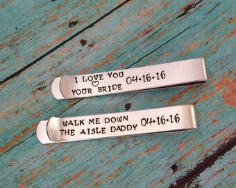 Personalized Tie Clip SPECIAL mesage on back  choose your own wording-  Hand stamped -  great for a gift