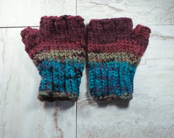 Fingerless Gloves, Multicolor Winter Mittens, Womens Texting Mitts, Wrist Warmers