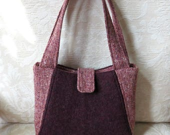 Willow Handbag in Plum, Upcycled Felted Wool Sweater Purse
